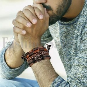 Other - Men's 3 piece leather cuff wristband.